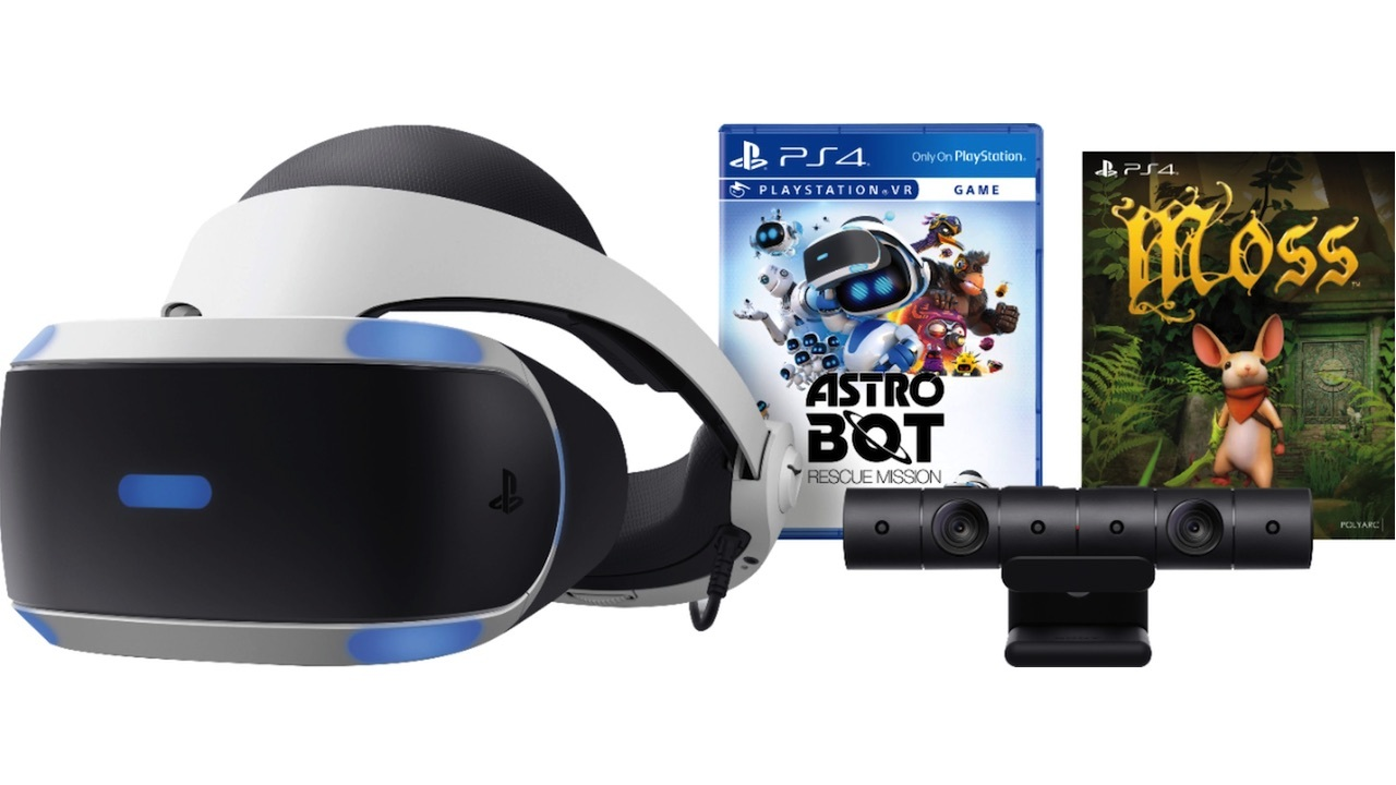 PSVR bundle with camera, Astro Bot: Rescue Mission, and Moss - $200