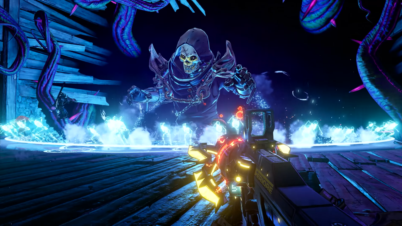 Sometimes all you need to beat a giant magical skeleton is a really cool gun.